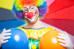 Portrait of a funny clown Stock Image