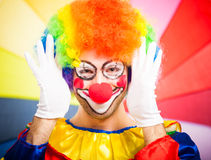 Portrait of a funny clown Stock Photos