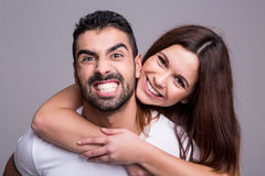 Portrait of a funny couple Royalty Free Stock Images