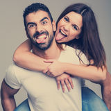 Portrait of a funny couple Stock Photos