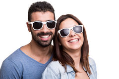 Portrait of a funny couple. Wearing sunglasses stock image