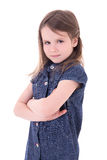 Portrait of funny cute little girl in denim dress isolated on wh Stock Images