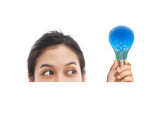 Portrait of funny face and bulb Royalty Free Stock Image