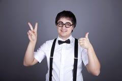 Portrait of funny fashion men in suspender Stock Image