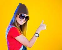 Portrait of funny girl in glasses Stock Photo
