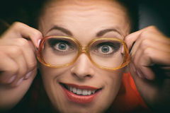 Portrait of a funny girl with glasses. Close up Portrait of a funny girl with glasses stock photography