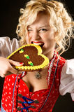 Portrait of funny girl in oktoberfest dress Royalty Free Stock Photos