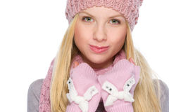 Portrait of funny girl in winter clothes Royalty Free Stock Photos