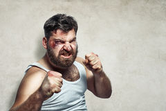 Portrait of a funny injured fighter royalty free stock photo