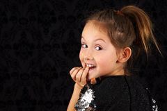 Portrait of funny little blond girl Royalty Free Stock Photo