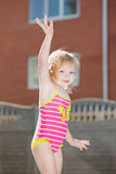 Portrait of funny little blond girl Stock Images