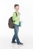 Portrait of funny little boy holding book. Royalty Free Stock Image