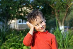 Portrait of a funny little boy 4 year Stock Photos