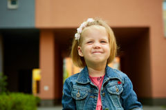 Portrait of funny little child, adorable blonde Royalty Free Stock Photo