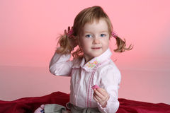 Portrait of funny little girl Stock Photography