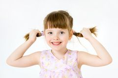 Portrait of funny little girl Stock Photos