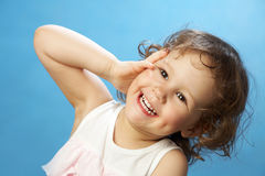 Portrait of funny lovely little girl Stock Images