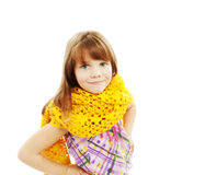 Portrait of funny lovely little girl wearing scarf Stock Photos