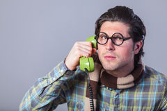 Portrait of funny man in glasses Royalty Free Stock Photos