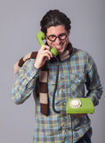 Portrait of funny man in glasses Stock Photos