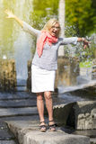 Portrait of Funny Mature Middle Aged Smiling Blond Woman Stock Photography