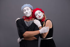 Portrait of funny mime couple with white faces and Royalty Free Stock Image
