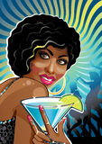 Portrait funny mulatto female at a party.Vector Stock Photo