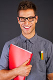 Portrait of funny nerd man Stock Photo