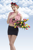 Portrait of funny pin-up with flowers Royalty Free Stock Photography