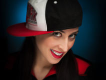 Portrait of a funny rapper woman Royalty Free Stock Photos