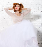 Portrait of the funny redhaired woman Royalty Free Stock Photos