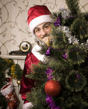 Portrait of funny Santa Claus. At Christmas tree Royalty Free Stock Photos