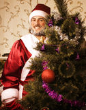 Portrait of funny Santa Claus at home with. Christmass tree, real normal man Royalty Free Stock Image