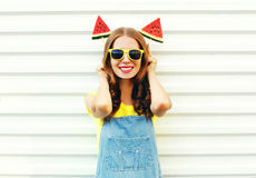 Portrait funny smiling woman with a two slice of watermelon ice cream. Having fun royalty free stock photography