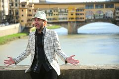 Portrait of a funny street artist in Florence, Italy Stock Photography
