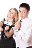 Portrait of funny student pair. Isolated Royalty Free Stock Photo