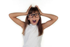 Portrait of a funny surprised girl in glasses Stock Photography
