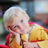 Portrait of funny toddler girl outdoors Royalty Free Stock Photography