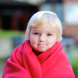 Portrait of funny toddler girl outdoors Royalty Free Stock Images