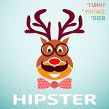 Portrait of funny vintage hipster deer with Stock Photo