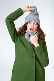 Portrait of a funny woman in winter cloth Royalty Free Stock Photography