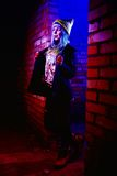 Portrait of funny zombie girl in halloween time Royalty Free Stock Images