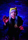 Portrait of funny zombie girl in halloween time Royalty Free Stock Photo
