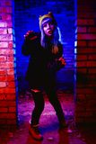 Portrait of funny zombie girl in halloween time Royalty Free Stock Photography