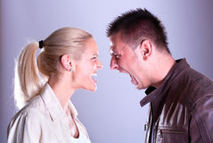 Portrait fury couple. Face to face. Stock Image