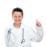 Portrait of future doctor showing thumbs up. Royalty Free Stock Images
