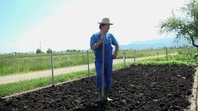 Portrait of a gardener stock footage