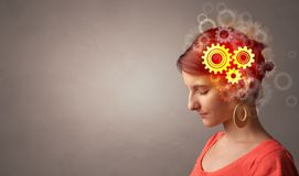 Portrait with gears concept royalty free stock photos