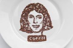 Portrait gebildet vom Kaffee Lizenzfreie Stockfotografie