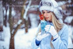 Portrait of a gentle glamorous woman in a winter hat with a winter drinkIn cold tones, snow falls, artistic toning. Concept of re stock images